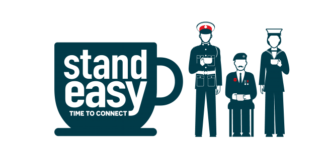 """The RNRMC """"stand easy"""" logo depicting silhouettes of a teacup and three uniformed veterans."""