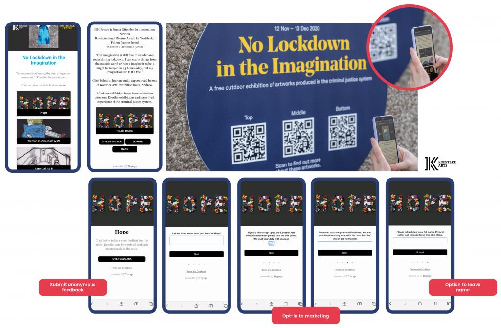 demonstration of the Koestler Arts feedback form screen
