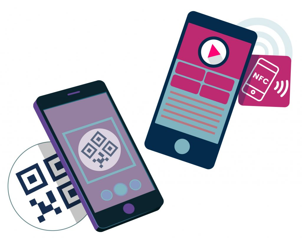 QR and NFC smartphone graphics
